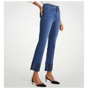 New Ann Taylor Eyelet Flare Crop Jeans